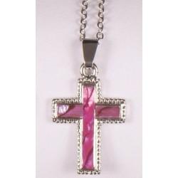 Pink shell cross pendant....