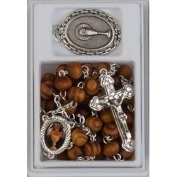 Brown Wood Communion Rosary...