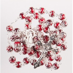 Red glass bead rosary. 293/10.