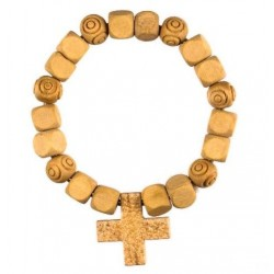 Natural wood bead bracelet with cross
