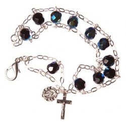 Crystal bead ladder bracelet black
