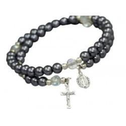 Imitation pearl bead bracelet in haematite