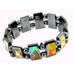 Elasticated haematite bracelet with twelve images