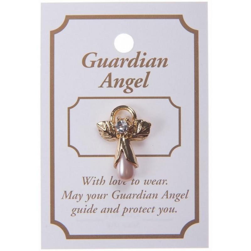 Pink Guardian Angel Lapel Brooch
