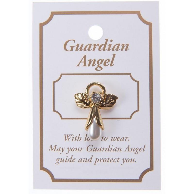 Cream Pearl Guardian Angel Lapel Brooch