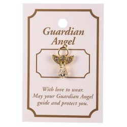 Crystal Guardian Angel Lapel Brooch