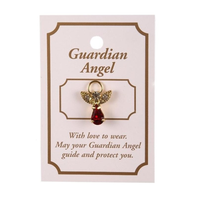 Red Crystal Guardian Angel Lapel Brooch
