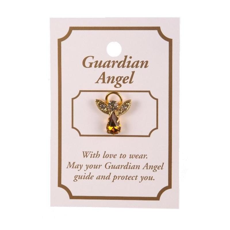 Topaz Crystal Guardian Angel Lapel Brooch