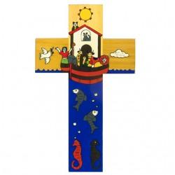 12 cm Hand Painted Noah's Ark Cross