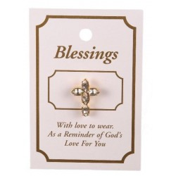Cross Lapel Brooch with Clear Stones