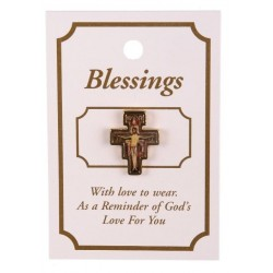 Franciscan Cross Lapel Brooch. San Damiano Cross Lapel Brooch.