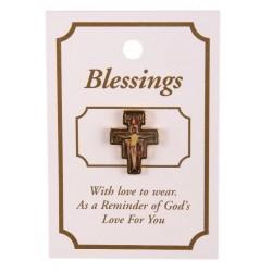 Franciscan Cross Lapel Brooch. San Damiano Cross Lapel Brooch.