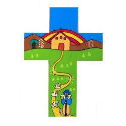 12 cm Alpine Church with Rainbow Cross