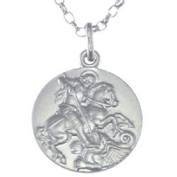 18mm Sterling Silver St George Medal and Chain