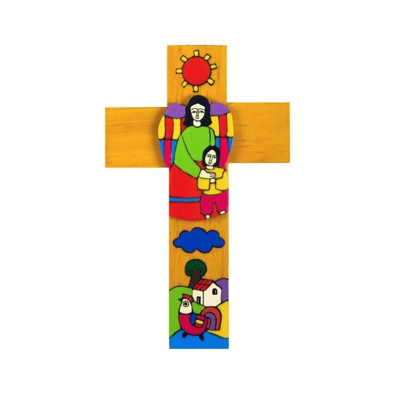 15 cm Boy with Guardian Angel Cross