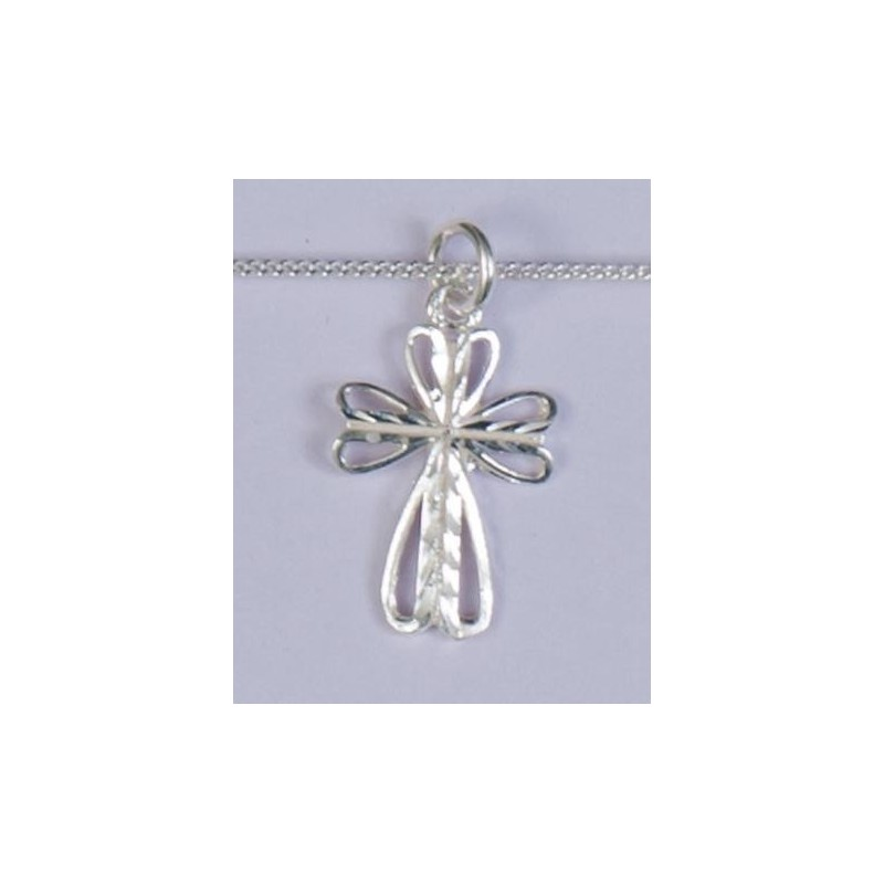 22mm Sterling Silver Butterfly Cross and Necklet
