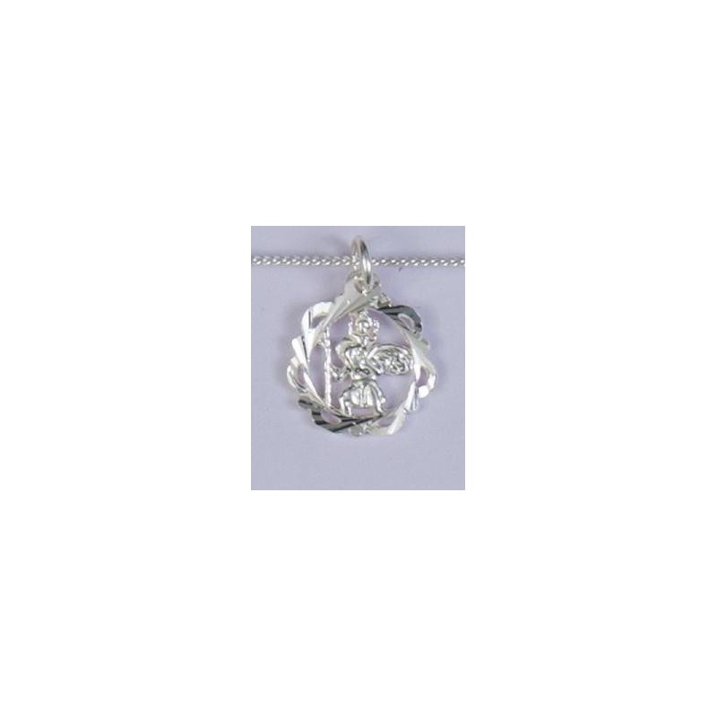 14mm Sterling Silver St Christopher and Necklet