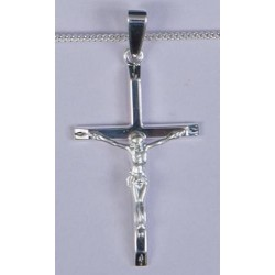 35mm Sterling Silver Crucifix  and Necklet