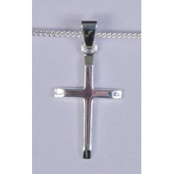 22mm Sterling Silver  Bevelled Cross and Necklet