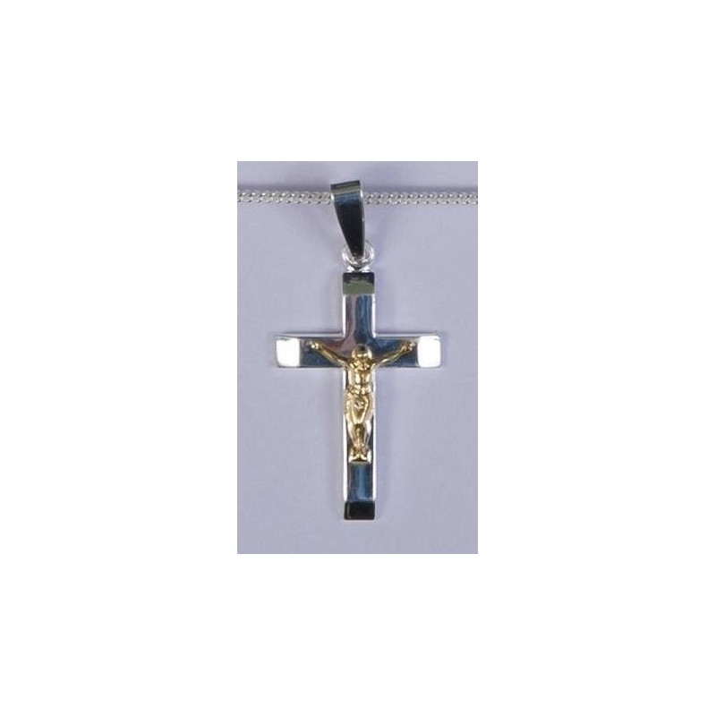 28mm Sterling Silver Crucifix  and Necklet