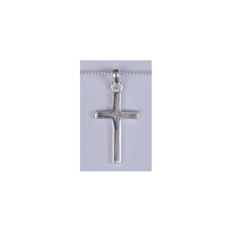 22mm Sterling Silver Patterned Tipped Cross and Necklet