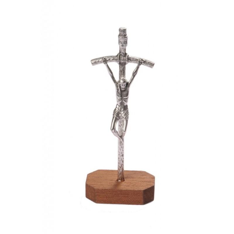 15cm Metal Crucifix on wood base