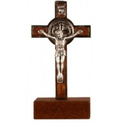 9cm Metal St Benedict Crucifix on wood base