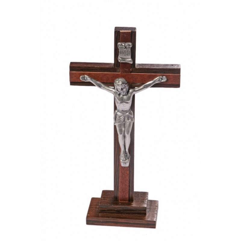 20cm Crucifix wood cross and base with metal corpus
