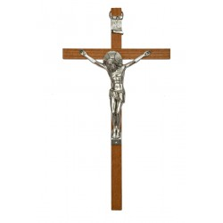 30cm Crucifix wood cross with oxidised metal corpus