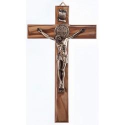 25cm St Benedict Crucifix Wood Cross with Bronze Coloured metal Corpus