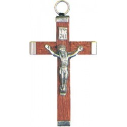 Pack of Three. 4cm Metal and Brown Wood Crucifix.
