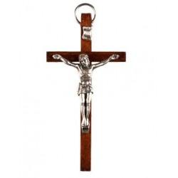 9cm Crucifix wood cross with oxidised metal corpus