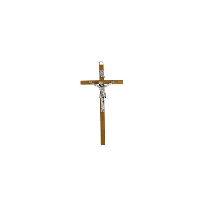 26cm Crucifix brown wood cross with oxidised metal corpus