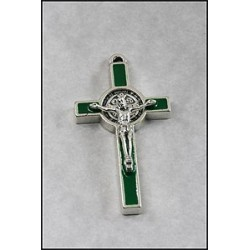 Pack of Three. 3cm Metal Green St. Benedict Cross Crucifix.