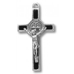 Pack of Three. 3cm Metal Black St. Benedict Cross Crucifix.