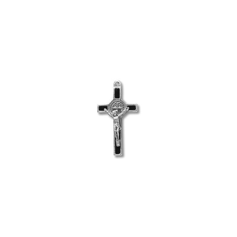 Pack of Three. 3cm Metal Black St. Benedict Cross Crucifix.