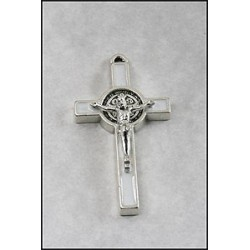 Pack of Three. 3cm Metal White St. Benedict Cross Crucifix.