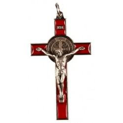 9cm Red St. Benedict Cross Crucifix.