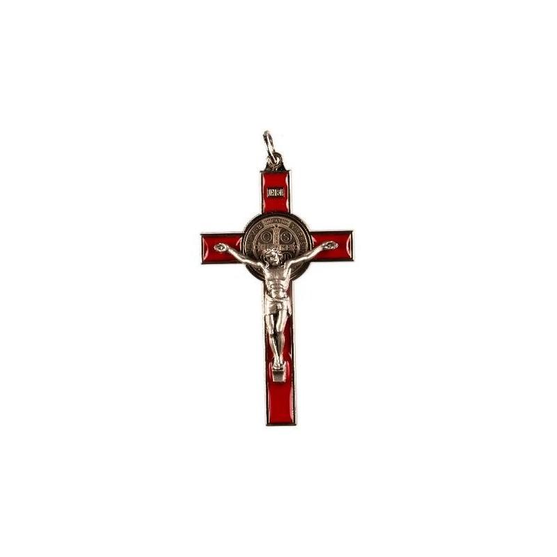 9cm Red St. Benedict Cross Crucifix.
