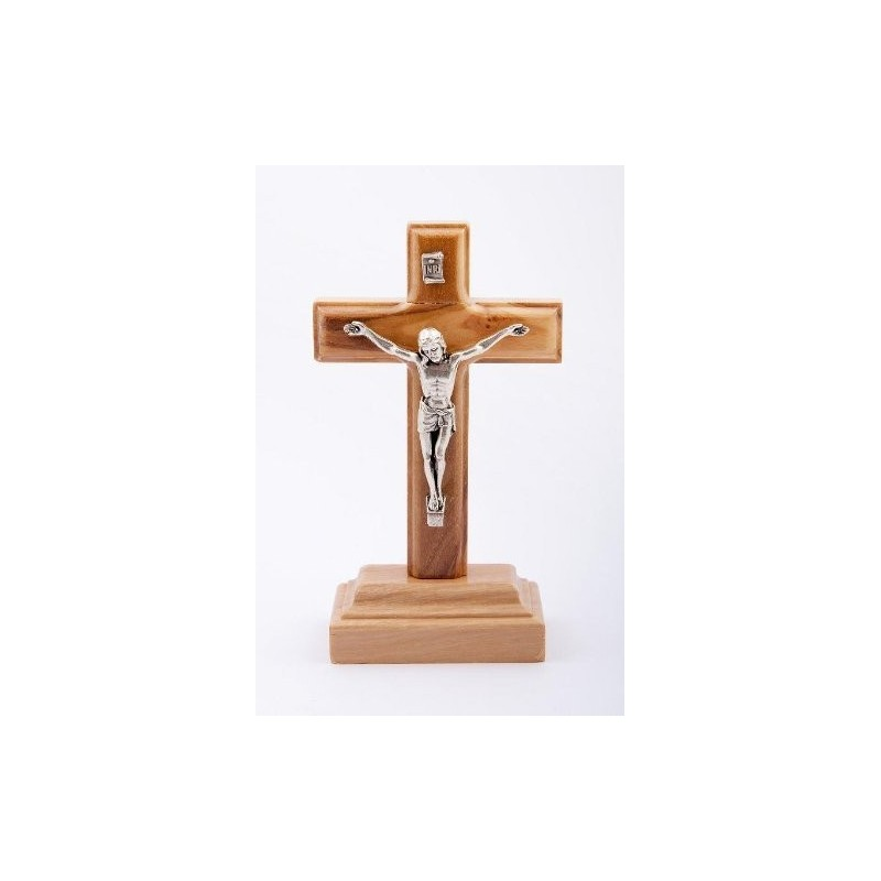 11cm Olive Wood Crucifix wood cross and base with metal corpus