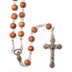 Brown Wood  Rosary Bead. With Metal Crucifix and Round Wood Beads