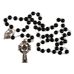 Black Wood Rosary Bead. With Metal Celtic Cross Crucifix and Carved Wood Beads