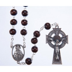 Brown Wood Rosary Bead. With Metal Celtic Cross Crucifix and Carved Wood Beads