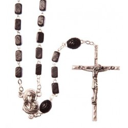 Black Wood  Rosary Bead. With Metal Crucifix and Square Wood Beads