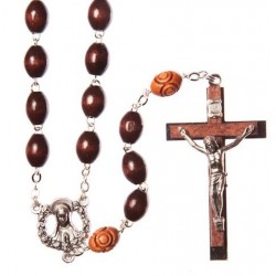 Brown Wood  Rosary Bead. With Metal Crucifix and Oval Beads