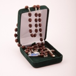 Brown Wood  Rosary Bead. With Extra Strong Wire. Supplied in Gift Presentation Case.