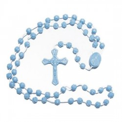 Pack of Twelve Rosary Beads. Blue Plastic Rosaries.