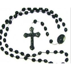 Pack of 12 Rosary Beads. Black Plastic Rosaries.