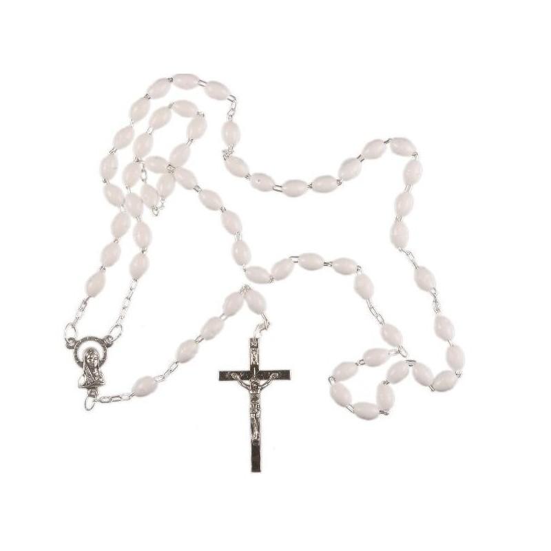 White Plastic Bead Rosary.