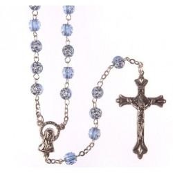 Blue 'Rose Petal' Bead Rosary.